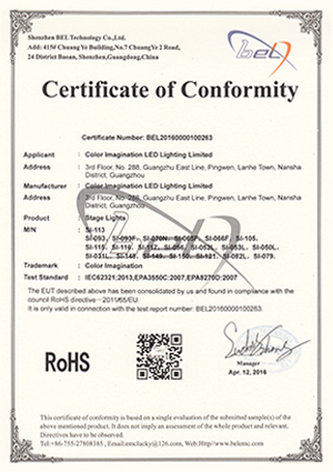 Color Imagination SI-113-ROHS Certificate